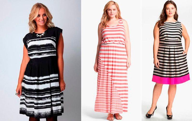Платье в вертикальную полоску для полных женщин