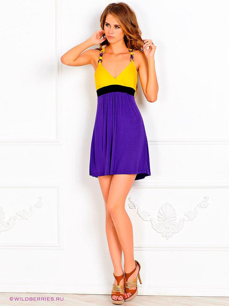 Платье желтое с фиолетовым