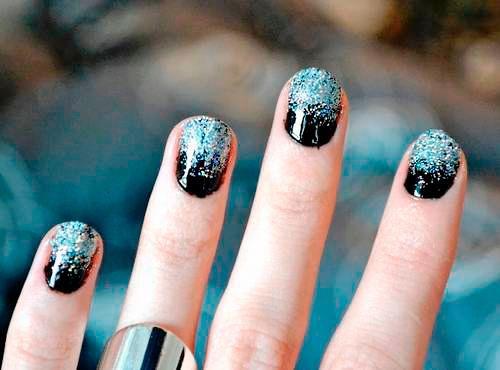 Ногти черное с серебром