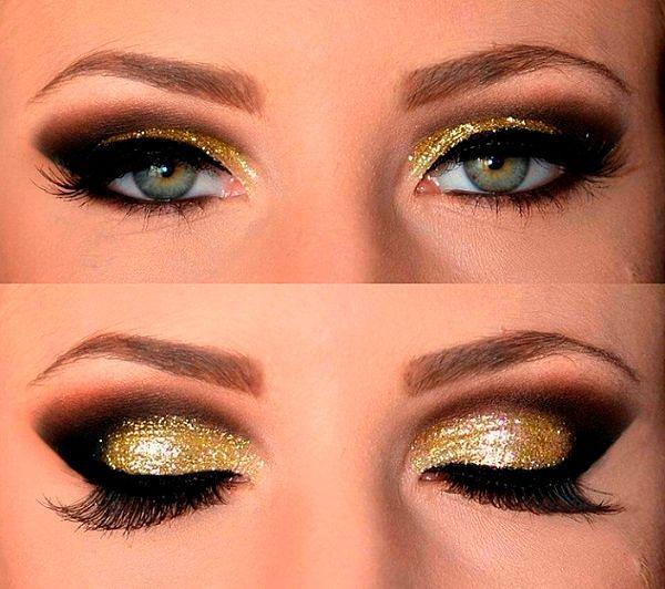 Фото №2: Макияж под золотое платье
