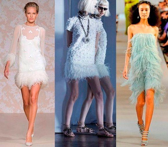 Фото №7: Белое платье с перьями, фото