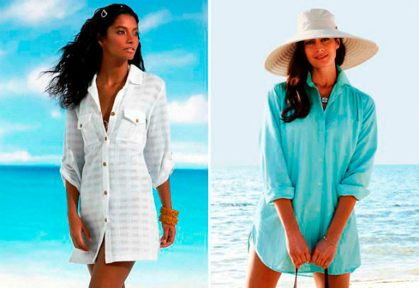 Фото №11: Модное пляжное платье-рубашка, фото