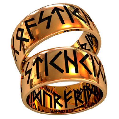 Фото №4: Модные обручальные кольца 2018 с рунами, фото