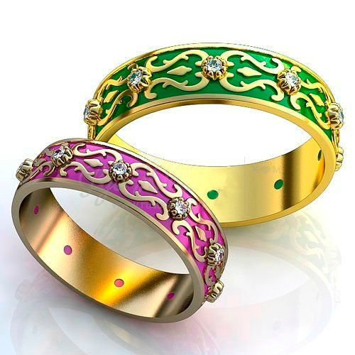 Фото №6: Модные обручальные кольца 2018 с эмалью, фото