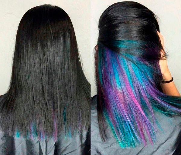Фото №9: Скрытое окрашивание волос синий.