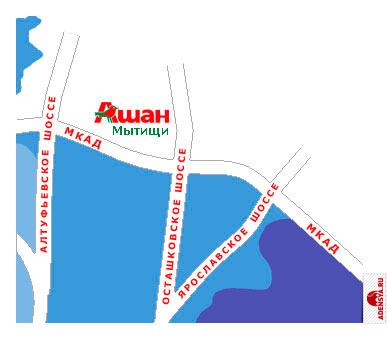 карта города Москва, магазин Ашан (Мытищи).  Схема проезда к магазину Ашан.